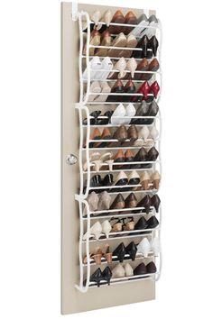 Whitmor Over-The-Door 36 Pair Shoe Rack - Beyond the Rack Over Door Shoe Storage, Over Door Shoe Rack, Shoe Storage Small, Shoe Rack With Shelf, Closet Shoe Storage, Diy Shoe Rack, Shoe Shelves, Smart Storage, Storage Hacks