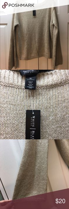 Bell-Sleeve WHBM Tan Sparkle Sweater Sparkly tan. Bell sleeves. Never worn. Size XL. White House Black Market Sweaters Crew & Scoop Necks