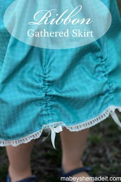 Create a ribbon gathered skirt by taking a basic skirt and adding casings to thread ribbon through. Sewing Projects For Kids, Sewing For Kids, Baby Sewing, Sewing Hacks, Sewing Tutorials, Sewing Tips, Sewing Ideas, Sewing Patterns Free, Free Sewing