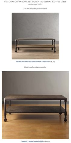 COPY CAT CHIC FIND: Restoration Hardware's Dutch Industrial Coffee Table VS Overstock's Renate Grey Coffe Table