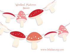 Printable Woodland Mushrooms Banner PDF by littledear on Etsy, $4.00