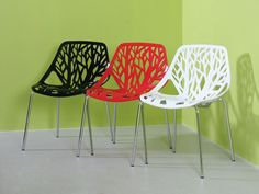 The Allure Chair's randomly shaped holes portray modernity and sophistication. Its legs are chromed for an overall pleasing aesthetic. Stackable for space saving needs. Comfort Design, Colorful Furniture, Side Chairs, Space Saving, Furniture Design, Chrome, Home Decor, Decoration Home, Room Decor