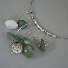 Beach Pebble and Silver Necklace by metalchick on Etsy