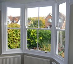 This bay window has been changed from single glazing to our double glazed sash… Front Doors With Windows, Upvc Windows, Bay Windows, House Windows, Edwardian House, Victorian Terrace, Front Garden Entrance, Double Glazed Sash Windows, Front Rooms