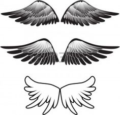 Black And White Illustration Of An Angel. Royalty Free Cliparts ...