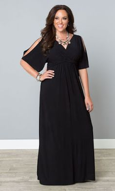 Black plus size maxi dress with cold shoulder sleeves is a stylish choice for any event! - Plus Size Maxi Dresses - Ideas of Plus Size Maxi Dresses Plus Size Black Dresses, Dress Plus Size, Plus Size Outfits, Evening Dresses Plus Size, Looks Plus Size, Look Plus, Vestidos Plus Size, Bridesmaid Dresses Plus Size, Plus Size Dresses To Wear To A Wedding