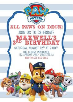 93 Best Free printable birthday invitations images in 2019 4th Birthday Party For Boys, Thomas Birthday Parties, Birthday Ideas, Birthday Pins, Paw Patrol Party Invitations, Free Printable Birthday Invitations, Invites, Paw Patrol Birthday Theme, Paw Patrol Decorations