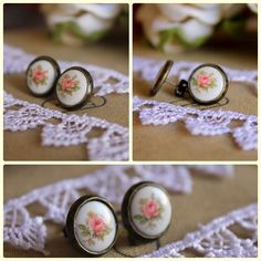 Vintage English pink rose earrings by iloniti on Etsy, $19.00