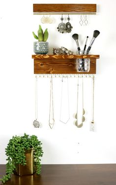 Wall Mount Jewelry Organizer, Necklace Holder with Mason Jar and Earring Display - DIY Jewelry Crafts Ideen Necklace Hanger, Necklace Display, Earring Display, Jewellery Display, Jewellery Stand, Tree Necklace, Pearl Necklace, Wall Mount Jewelry Organizer, Diy Jewelry Holder