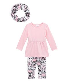 Loving this Pink & Black Ruffle Tee & Pants Set - Infant, Kids & Tween on #zulily! #zulilyfinds