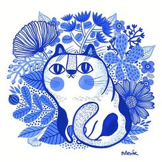 Cat illustration by - x Illustrator Helen Dardik - Katzen Guache, Blue Cats, Fat Cats, Cat Drawing, Love Painting, Painting Lessons, Grafik Design, Art Plastique, Crazy Cats