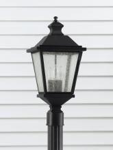 Feiss - Three Light Black Clear Seeded Glass Post Light www.ctlighting.com