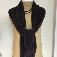 Soft Scarf NWOT Very warm and soft Scarf 74ins long plus fringes. Viscose+Acrylic. Color very dark Brown. Norstrom Accessories Scarves & Wraps