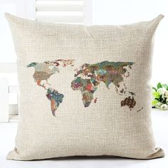 Vintage World Map Cushion Covers