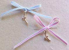 Greek Wedding Shop - Pink or Blue Bow Martirika ~ Witness Pins. Witness Pins for your godchild's baptism ceremony (http://www.greekweddingshop.com/pink-or-blue-bow-martirika-witness-pins/)