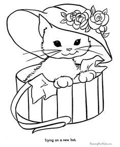 Free printable animal coloring page of kitten