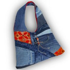 One - of - a - kind. Pretty cool recycled jean patchwork hobo bag. A bag is made from Japanese obi, old Jeans and denim fabric. Fully lined with