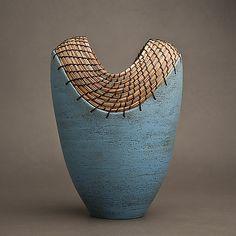 Slit Vessel in Turquoise: Hannie Goldgewicht: Ceramic Vessel - Artful Home ((pottery-inspirations)) Porcelain Clay, Porcelain Jewelry, Ceramic Clay, Ceramic Vase, Ceramic Pottery, Pottery Art, White Porcelain, Pottery Painting Designs, Pottery Designs