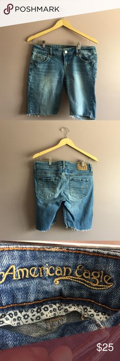 "American Eagle Women's Bermuda Denim Shorts American Eagle Women's Bermuda Denim Shorts  •	Size: 10 •	Waist: 31"" •	Inseam: 9"" •	Front rise: 8"" •	Back rise: 12"" •	Length: 18"" •	In excellent condition •	From a smoke-free home 	 Fast shipping (same day) during business days   No trades  Bundle & save!! American Eagle Outfitters Shorts Bermudas"