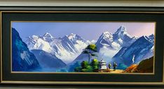 Mount Everest Base Camp, Mountain Paintings, Buddhist Art, Fantasy Inspiration, Painting Art, Nepal, Wonders Of The World, Art Projects, Ocean