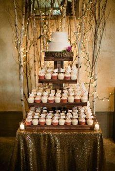 Rustic wedding cake + cupcake tower