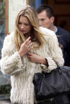 Kate Moss + fur coat + Balenciaga City