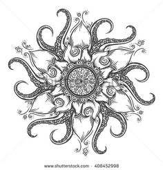 Hand drawn mandala with tentacles. - stock vector
