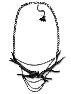 A is for Arsenic — Black Chained Antler Necklace