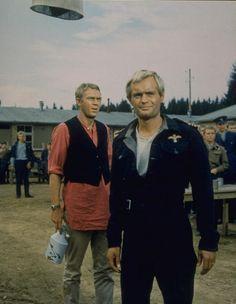 Steve McQueen and David McCallum The Great Escape Hollywood Stars, Classic Hollywood, I Movie, Movie Stars, Steve Mcqueen Style, David Mccallum, The Man From Uncle, Napoleon Solo, The Great Escape