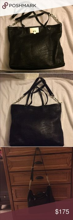 Michael Kors Channing Black Michael Kors Channing bag, barely used.  Retailed at $448.  Excellent condition, has dust bag and MK tag attached.  Can be hand carried or worn crossbody. Michael Kors Bags
