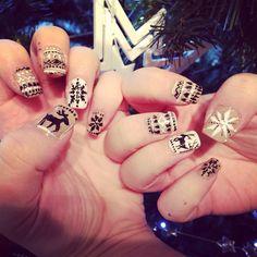 Xmas reindeer fairisle nails first attempt!