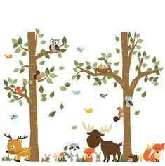 Une promenade dans la forêt pour enfants, Stickers muraux, animaux de la forêt, Stickers enfant chambre d'enfant, chambre de bébé garçon renard sentiers, Stickers muraux neutre Ensemble se porte sur un mur qui est h 96 x 120 w 3 arbres de la forêt avec des feuilles de 96 h 2 cerf 4 champignons 2 renard 2 hiboux 1 nid d'oiseau avec 2 oiseaux 2 écureuils herbe hérisson raton laveur 8 oiseaux 2 petits lapins Si vous souhaitez que les décalcomanies en différentes couleurs, il suffit de