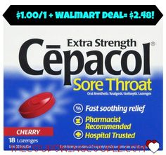 Grab this deal before the scratchy, sore throat hits you! Print a $1.00/1 Cepacol coupon and use it at Walmart to get a box for only $2.48!  Click the link below to get all of the details ► http://www.thecouponingcouple.com/1-001-cepacol-coupon-cool-deal-walmart/  #Coupons #Couponing #CouponCommunity  Visit us at http://www.thecouponingcouple.com for more great posts!