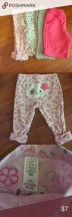 Newborn Baby Girl Pants Bundle 4 pairs of Newborn pants, great condition, no stains Brands are Carter's, Just One You, Circo, Okie Dokie Bundle & SAVE ❤️🎀 Bottoms Casual