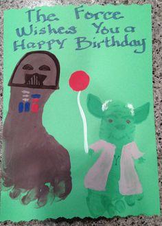 Foot print Yoda and Dart Vader card
