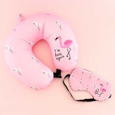 Flamingo Neck Pillow & Sleep Mask Travel Set - Blippo Kawaii Shop