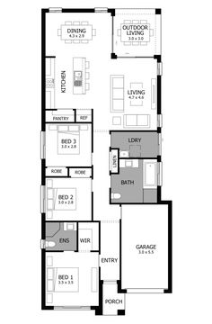 Live Passionately with the Jazz narrow block house design, a highly desirable 3 bedroom home with designer kitchen with large pantry & covered outdoor area. Duplex House Plans, House Layout Plans, Dream House Plans, House Layouts, Narrow House Designs, Narrow Lot House Plans, 3 Bedroom Floor Plan, Bedroom House Plans, Small Tiny House
