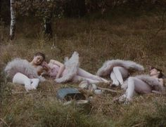 The four ballerinas sleeping from Jan Svankmajer's surreal movie Faust (1994). This still is followed by close-ups of their panties. The imagery is clearly sexual. Because of the lack of connection to the rest of the story, it is mostly just weird though. An effective use of the ballerina figure.