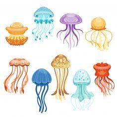 Jellyfish Drawing, Jellyfish Painting, Jellyfish Tattoo, Watercolor Jellyfish, Jellyfish Aquarium, Jellyfish Sting, Jellyfish Quotes, Colorful Jellyfish, Jellyfish Decorations