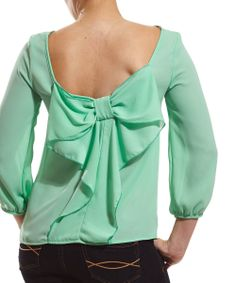 Mint Bow-Back Scoop Top by Coveted Clothing