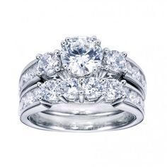Serious Bling :) Three Stone Round Sidestone Channel Set Engagement Ring ER3960