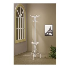 12 Hooks Metal Coat Hat Rack w/ Round Umbrella Stand Hall Tree White