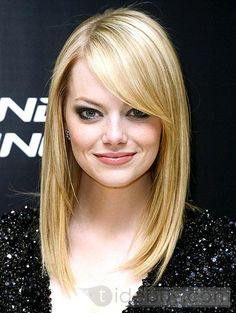 100%Human Hair Lace Wig about 14inches Straight Emma Hairstyle