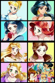 Disney Princesses anime style
