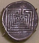 Silver coin from Knossos representing the labyrinth, 400 BC.