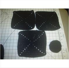 3 Black Square X Dish Cloths - 1 Scrubber - 8 Inch