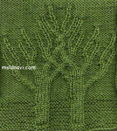 Textural cabled trees. Beautiful! Charted knitting stitch.