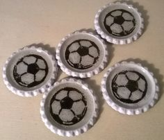 Football is from napkin. Bottle Cap Magnets, Shrink Plastic, Napkin, Paper Art, Football, Crafts, Jewelry, Soccer, Papercraft