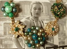 Bracelets with vintage earrings... great idea, and even better execution!