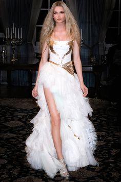 Kristiana Adnevik white and gold wedding gown.